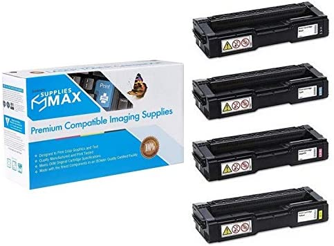 SuppliesMAX Compatible Replacement for Ricoh SP-C250//261 Toner Cartridge Combo Pack 40753BCMY Type C250A BK//C//M//Y
