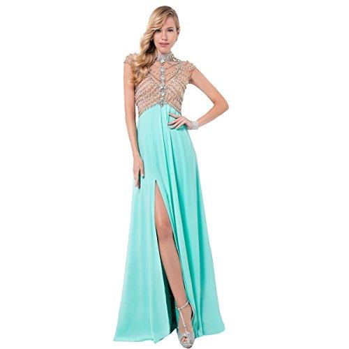Terani Couture Chiffon Illusion Formal Dress Green 0