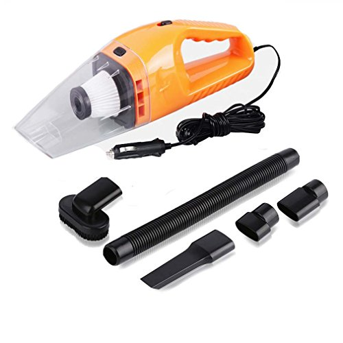 Handheld Car Vacuum Cleaner 120W,NUWA 12V Portable Mini Wet/Dry Auto Vehicle Vacuum Dust Buster with 16.4FT (5M) Power Cord with Cigarette Lighter, 4000PA Suction High Power Hand Vac (Orange) (Wet Vacuum Cleaner Pets compare prices)