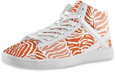 スケートボードシューズ 動物皮 オレンジ ゼブラ Xマーク メンズ ハイカットスケートボード ミッドカット レースアップ ミドルヒール スニーカー 厚底 クッション性 ドレスシューズ ハイトップ ショートブーツ デッキシューズ 運動靴