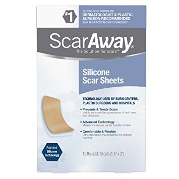 ScarAway Professional Grade Silicone Scar Treatment Sheets, 12 Count ( Packaging May Vary ) - Pack of 3