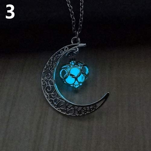 856store Novelty Moon Glowing Turquoise Pendant Charm Jewelry Chain Necklace Halloween Gifts - Light Blue