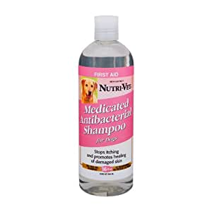 Nutri-Vet Medicated Antibacterial Tea Tree Oil Shampoo for Dogs, 16-Ounce