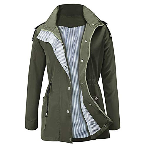 - iFOMO Active Outdoor Raincoats Waterproof Rain Jacket Lightweight Hooded Shell Jackets Trench Coats for Women(Army Green,M)