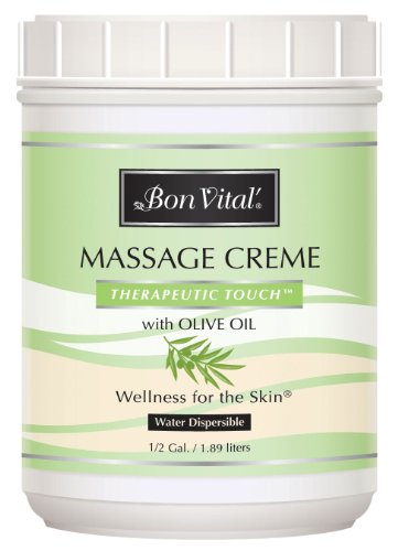 (Massage Cream by Bon Vital, Therapeutic Touch Massage Cream, Professional Massage Therapy Cream with Olive Oil to Repair Dry Skin & Soothe Sore Muscles, Full Body Moisturizer for Youthful Looking Skin, 1/2 Gal)
