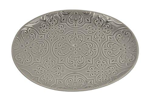 Drew DeRose Old Fashioned Quilt Design Glossy Gray 16 x 12 Ceramic Serving Platter