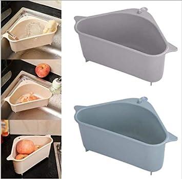 gris Support de rangement pour /évier triangulaire,organisateur de bo/îte de savon de drainage d/étag/ère suspendue dangle,support de rangement pour /évier meunier,pour cuisine salle bain buanderie