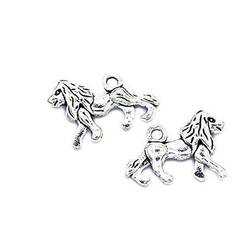 (50pcs Antique Silver Lion Charms Pendants for Necklace Bracelet DIY Jewelry Making(Lion Charm))
