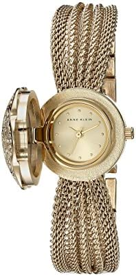Anne Klein AK-1046CHCV Swarovski Crystal Accented Gold-Tone Covered Dial Mesh Bracelet Watch WeeklyReviewer