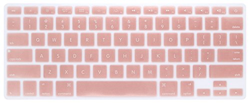 PapyHall Colorful Silicone Protector Keyboard Cover Skin for Macbook Pro 13 inch, 15 inch, Air 13 inch Keypad Dust-proof Membrane - Rosegold