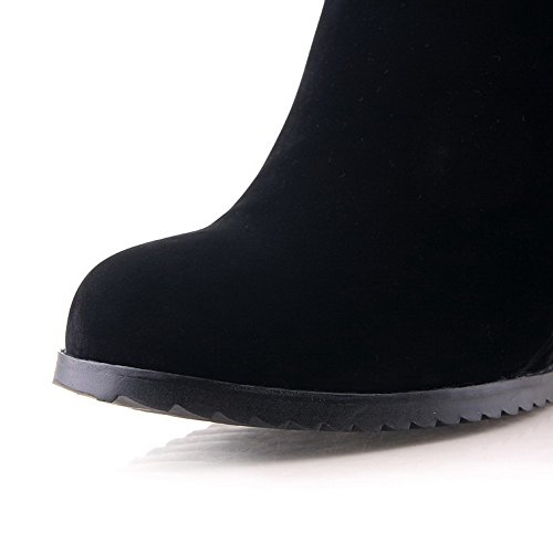 Toe and Metalornament US Wedge Boots Round 5 with Solid Black Womens B Heels AmoonyFashion Closed 6 Suede Imitated M High H7twpOq