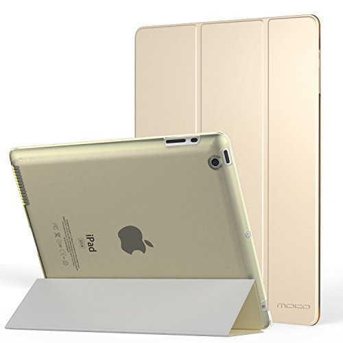 MoKo Case Fit iPad 2/3/4 - Ultra Lightweight Slim Smart Shell Stand Cover with Translucent Frosted Back Protector Fit iPad 2/The New iPad 3 (3rd Gen)/iPad 4 ONLY, Gold (with Auto Wake/Sleep)