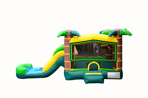 - JumpOrange Commercial Grade Inflatable Aloha Tropical Athletic Bounce House with Slide Combo and Blower, Party Combo Moonwalk, 100% PVC VINYL