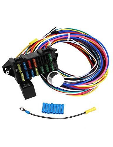 BLACKHORSE-RACING 12 Circuit Wiring Harness XL Wires Universal for Mopar Hot Rods Street Rods