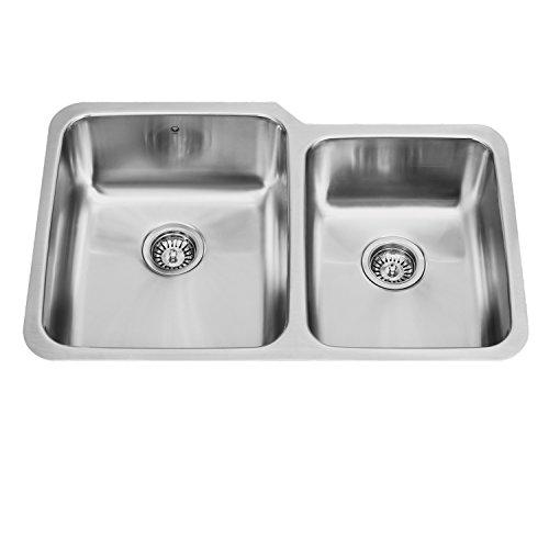 Vigo 32 Inch Undermount 60 40 Double Bowl 18 Gauge Stainless Steel Kitchen Sink