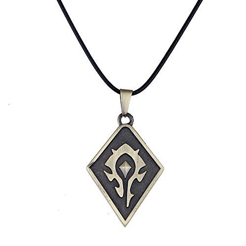 Lureme WOW Horde Logo Pendant on Leather Cord Necklace (nl005449)