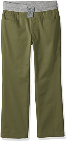 Amazon Brand - Spotted Zebra Boys' Little Kid Knit Waistband 5-Pocket Pants, Olive Green, Small (6-7)