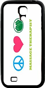 Rikki KnightTM Peace Love Massage Therapist Design Samsung\xae Galaxy S4 Case Cover (Black Hard Rubber TPU with Bumper Protection) for Samsung Galaxy S4