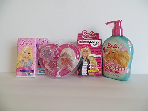 Barbie Combo Pack 5 Piece Gift Set Hand Soap + Barbie Bandages + 2 Packs Barbie Pocket Tissues + Lip Gloss