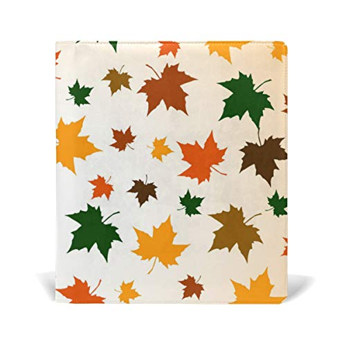 ColourLife Leather Book Covers for Textbooks Hardcovers Autumn Background of Maple Leaves School Books Protector 9 x 11 Inches