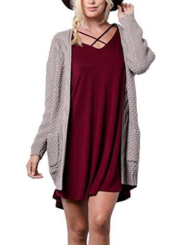 Xiakolaka Women's Long Sleeve Chunky Sweater Open Front Cable Knit Cardigans Mocha S