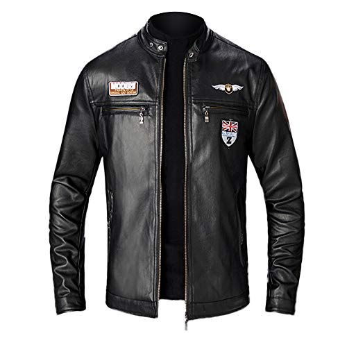 Biker Motorcycle Roiper Manteaux Veste Chaud Cuir Blousons Parka Hiver Épais Moto Leather Mens Automne Homme Winter Jacket Faux Noir Retro SwxSTPq