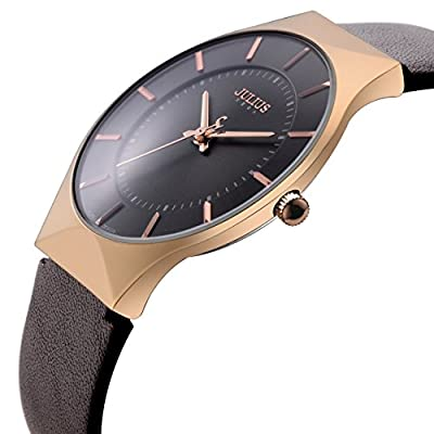 Tamlee Men's Watches Ultra Thin Case Leather Quartz Watch Waterproof Wristwatch
