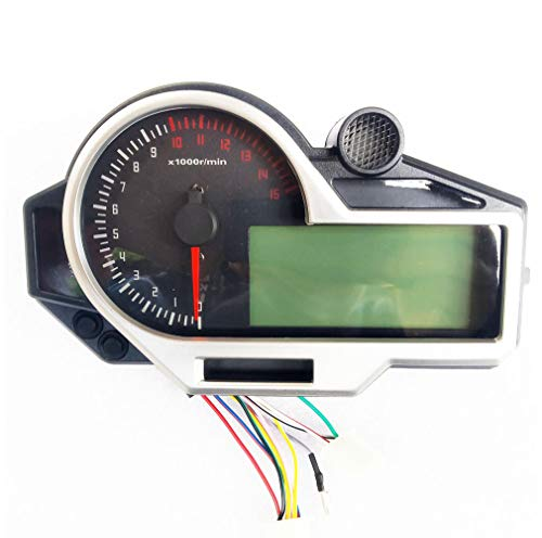 BLUERICE 6 Gear Universal Digital Motorcycle Speedometer Odometer Speed  Fuel Gauge High Beam Water Temperature Gauge 199 Kph Mph
