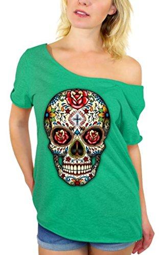Awkwardstyles Sugar Skull Rose Eyes Off Shoulder Tops T-Shirt + Bookmark M Kelly