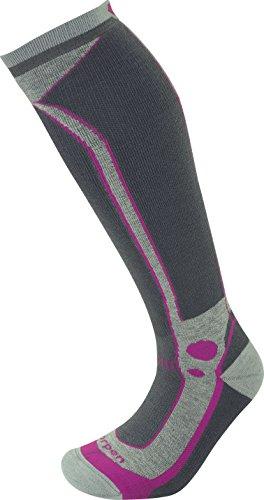 Lorpen Women's T3 Ski Midweight Socks, Light Grey, Medium