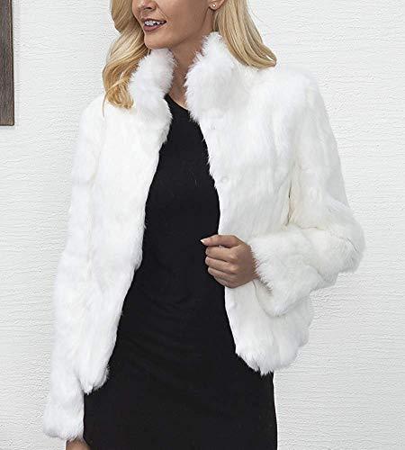 Et Pour De Taille Fourrure Montant Xl Veste Chaude Femmes coloré Couleur Col Fausse Unie Blanc Blanc Oudan 6vWw5Ixqq