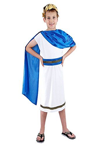 Boys Caesar Fancy Dress Costume Childs Kids Roman Emperor King Toga Greek Outfit Large UK 10-12 Years -