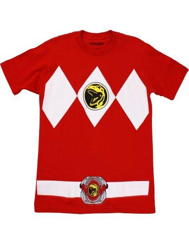 [Mighty Morphin' Power Rangers Red Ranger Men's Costume T-Shirt, Tyrannosaurus Red, Small] (Mmpr Red Ranger Costume)