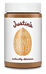 Classic Peanut Butter by Justin's, Only Two Ingredients, Gluten-free, Non-GMO, Vegan, Sustainably Sourced, 16oz Jar