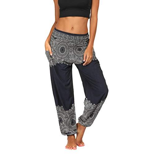 Toimothcn Men Women Baggy Boho Harem Trousers Elastic High Waist Hippie Yoga Bloomers Pants(Black1,Free) ()