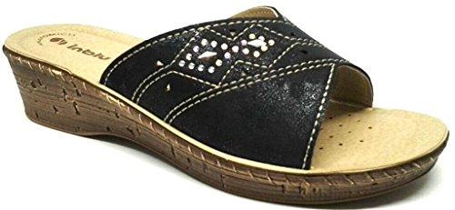 INBLU - Zapatillas de estar por casa de piel sintética para mujer negro negro 37