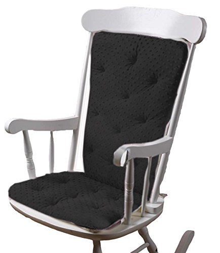 Baby Doll Bedding  Heavenly Soft Adult Rocking Chair Pad, Charcoal Grey