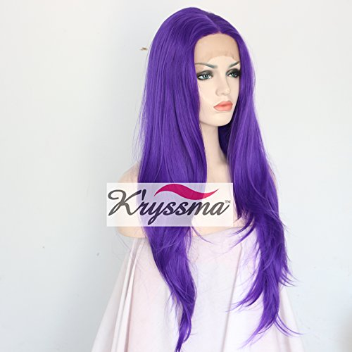 K'ryssma Fashionable Bright Purple Color Synthetic Hair Lace Front Wig For Women Long Layered Natural Straight Glueless Half Hand Tied Fiber Full Wigs For Party 24 (Wigs Purple)