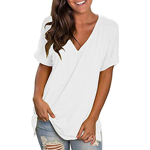 Aunimeifly Ladies Solid Color V Neck Tunic Casual Short Sleeve T Shirt Loose Tops Blouse - Blouse Nylon Pleats
