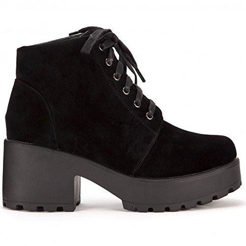 Shoe Closet Signore Nero Pelle Scamosciata Del Faux Pizzo Ups Piattaforma Stivaletti Scarpe Tacchi Alti UK5/EURO38/AUS6/USA7