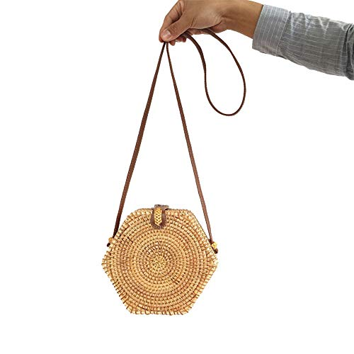 - Summer Women Bohemian Beach Bag Hand Woven Hexagon Rattan Bag Single Shoulder Pack Small Messenger Cross-Body Bags