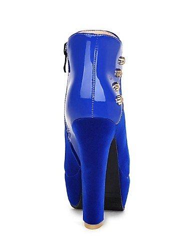 Cn43 Patentado Vellón Vestido Negro De Marino us10 Azul Zapatos Uk8 Redonda 5 Mujer Red Botines Botas Robusto 5 Cuero Tacón Eu42 Punta Xzz Rojo 7gSvwz