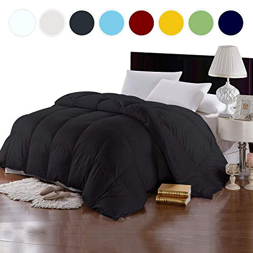 New York Mercado 100% Organic Cotton Comforter Luxury and Premium Quality Quilted with Corner Tabs 500 GSM GOTS Certified 800 TC All Season Warm Fluffy Ultra-Soft Comforter Full/Queen, Black