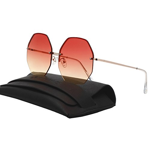 Geometric Octagon Shape Sunnies Flat Lens Oversized Shades Rimless Colorful Sunglasses 87306 Red to Yellow (Free Rimless Sunglasses So Metal)