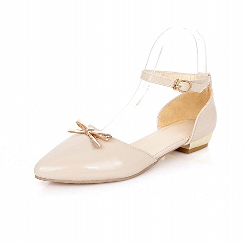 Carolbar Chic Womens Pointed Toe Bows Buckle Cute Fashion Casual Flats Sandals Light Apricot b052oY