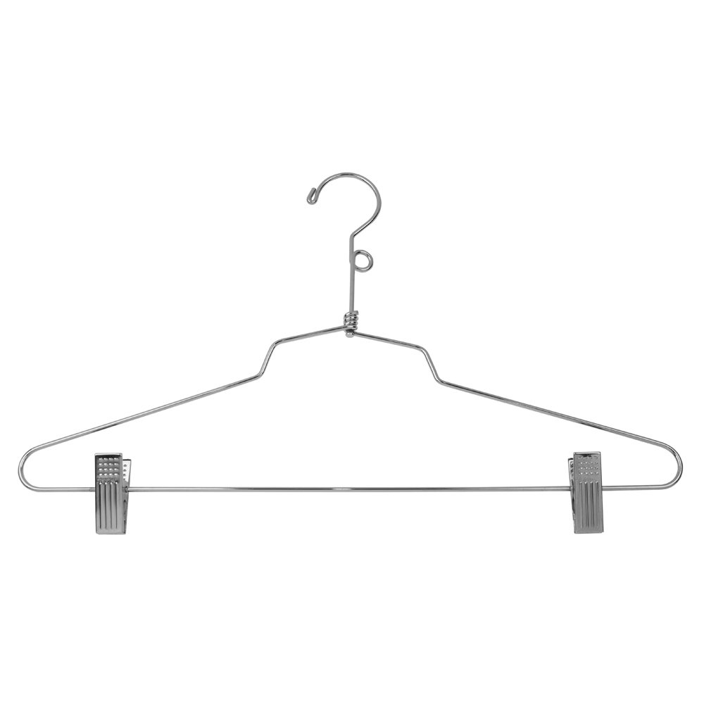 Econoco Commercial Combination Hanger with Vinyl Cushion Clips and Loop Hook, 16'' Steel (Pack of 100)
