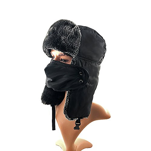 Winter Trooper Hat ,Water Resistant Hat with Detachable Facemask Mask ,Ear Flap Chin Strap with Windproof Mask (Black)