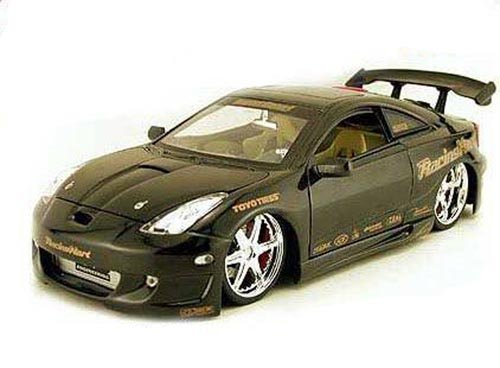 Diecast Import Cars - Toyota Celica, Black - Jada Toys Import Racer! 63184 - 1/18 scale Diecast Model Toy Car