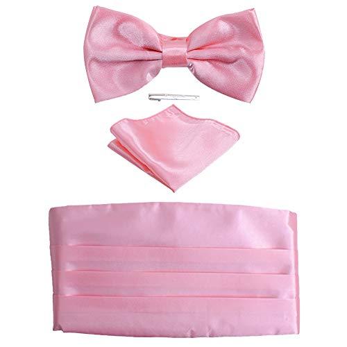 Fan-tastik Mens Silk Grossgrain Bow Tie and Cummerbund Set with a Pocket Square [ Pink ] ()