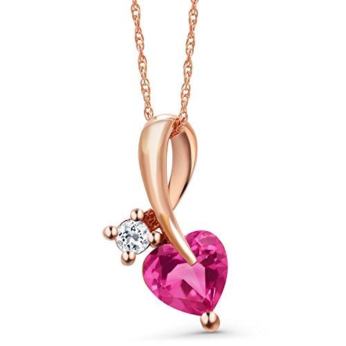 Gem Stone King 0.94 Ct Heart Shape Pink Created Sapphire White Topaz 10K Rose Gold Pendant